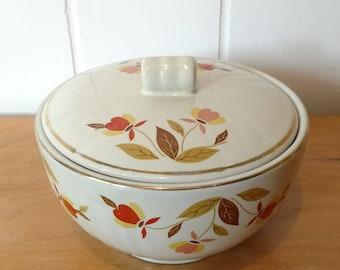 vintage Jewel Tea Autumn Leaf grease jar by Hall