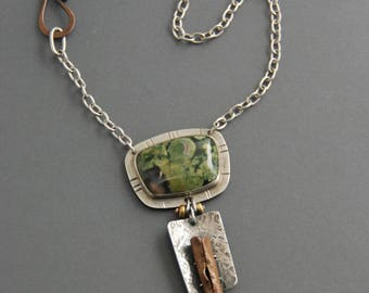 Rainforest Jasper Pendant, statement necklace, mixed metal necklace, sterling silver, copper, metalsmith, art jewelry, rhyolite, handmade