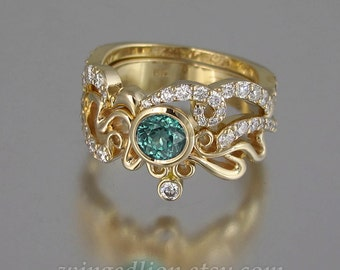 ODELIA Green Tourmaline and white sapphires 14K gold engagement ring & wedding band set Art Nouveau inspired