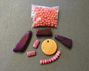 Purple and Pink Beads Assortment Variety Mixed Lot Destash Gemstone Quartz Agate Ceramic Jewelry Making Beads