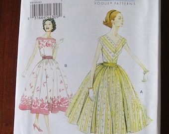Vogue 8789 Misses Full Skirt Dress and Cummerbund Original 1957 Pattern Re-issue UNCUT sz 6 8 10 12 14