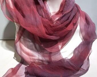 "Silk gauze silk fabric, Hand Dyed silk scarf, 12 x 120"", red, purple, plum, learn nuno wet felt kit, tutorial, DIY GIFT"