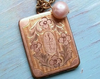 Edwardian Gold Fill Rectangular Monogrammed Locket Engraved Pink Fresh Water Pearl GF Long Antique Chain 1920s