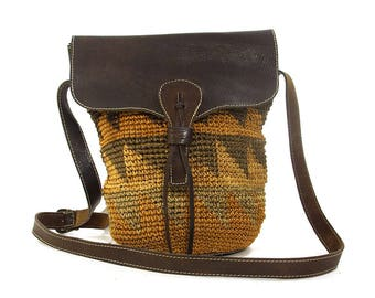 Woven Sisal Bucket Bag with Long Leather Shoulder Strap / Vintage 1980s Raffia Basket Purse / Bohemian Ethnic African Straw Tote