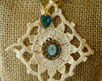 Boho Long Necklace Vintage Lace Religious Charm Heart Crystal