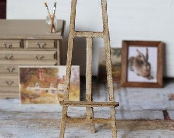 Dolls House Miniature Shabby Artist's Antique Easel in 1:12 scale