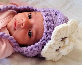 Newborn Hat, Baby Girl Hat, Crochet Baby Hat, Baby Newborn Hat, Ear Flap Hat, Purple Off White, Newborn Prop, Girl Ear Flap Hat, Baby Girl