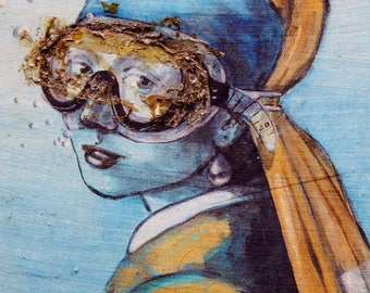 "Rome Graffiti Photo, Street Art, Modern Wall Art Print, Graffiti Art, Rome Print, Fine Art Photography ""Girl With Scuba Mask"""