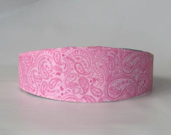 Women's Headband, Fabric Headband, Women Hairband, Adult Headband, Hair Fashion Accessories, Reversible Fabric Headband Pink Paisley