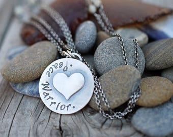 Peace Warrior Necklace. Puffy Heart Charm. Sterling Silver. Cindy's Art & Soul