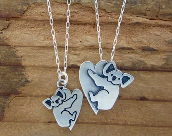 Mother Daughter Koala Necklace Set - Set of Two Sterling Silver Koala Necklaces