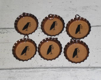 6 Bronze Bottle Caps Primitive Country Crow and Star Charms Mini Tree Ornaments Ornies Party Favors Scrapbooking Embellishments