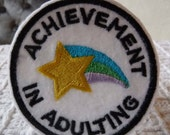 Achievement in Adulting Embroidered Iron On Patch, Patches, Embroidered Applique, Star Rainbow Blue Green Purple Yellow White, Merit Badge