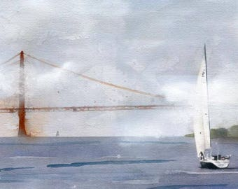Golden Gate San Francisco Landscape Art Print of my watercolor painting California Bay Ocean sea sailing sailboat seascape huge large modern