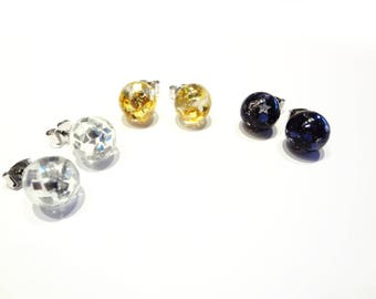 sphere orbs, black magic, silver or gold squares foil resin earrings