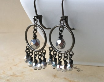 Gunmetal and Czech glass chandelier earrings