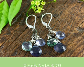 FLASH SALE FRIDAY Sterling Silver Dangle Gemstone Earrings with Iolite, Green Quartz, and Blue Quartz / Mother's Day Gift / Graduation Gift