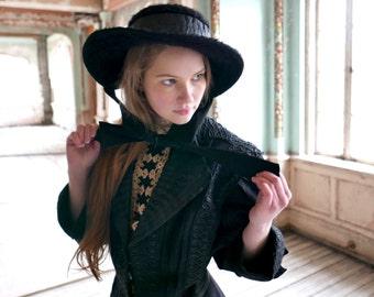 Edwardian Era Merry Widow Black Wide Brim Beaver Felt Hat