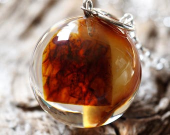 Amber Resin Necklace with Silver Chain, Botanical Jewelry, Woodland Jewelry, Amber Pendant