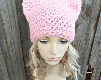 Pink Cat Hat - Thermal Crochet Womens Winter Beanie in Blossom - Pink Pussyhat Project Pink Pussy Hat