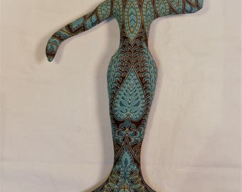Cathy Mermaid Fantasy cloth art doll form w/face cab 12 in. tall You finish her bead Decorate