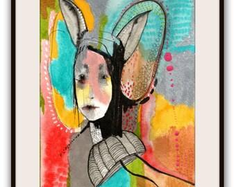 "Original Painting, Illustration Portrait Painting, Original Abstract Portrait  Painting, Collage Art  ""Better"""
