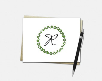 Monogrammed Note Cards - Monogrammed Stationery - Set of 10 - Folded Note Cards - Personalized Stationery - Greenery - Monogram Note Cards