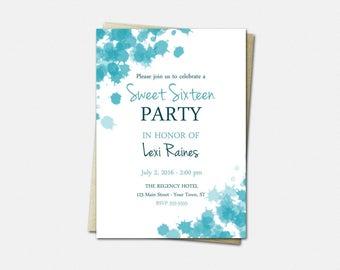 Sweet 16 Birthday Invitations - Birthday Invitations for Girls - Sweet 16 Invitations - Calypso Ink Blots - Sweet Sixteen Invitations