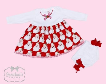 Infant Christmas Outfit - Santa Baby Christmas Dress - Retro Christmas Infant - Cute Dress and Diaper Cover Set - Newborn 6m 12m 18m 24m 2T
