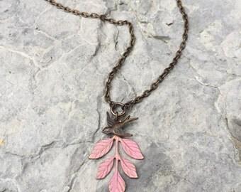 Leaf & Bird in Pink