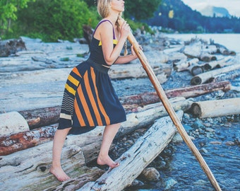 Cindy Skirt ONE-SIZE black, stretch, vintage fabric, graduated hem, upcycled, handmade, eco, reclaimed, 70's print, feminine, relaxed
