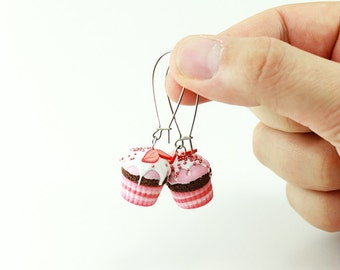 Yogurt - Strawberry  Cupcake Earrings