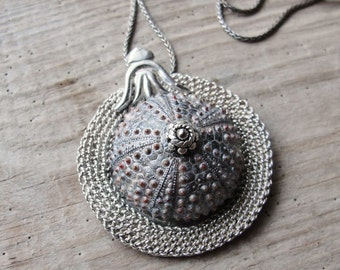 Sterling Silver Urchin Necklace, Handwoven Fine Silver, Art Nouveau Style Sea Urchin Sterling Silver Necklace One of a Kind
