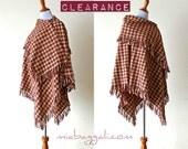 One Size Retro Plaid Flannel Poncho w/Attached Cowl shrug shawl ruana boho chic cape handmade clothing sweater jacket upcycled wearable art