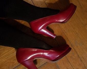 Vintage 1940's Cherry Red Leather Platform High Heels, Size 8