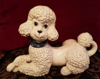 Vintage 1950's White Poodle Ceramic Figurine Statue, 12 inches, Mid Century Kitsch Decor