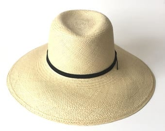 Wide Brim Panama Straw Hat Summer Hat Wide Brim Straw Millinery Hat Suede Trim Made to Order Custom