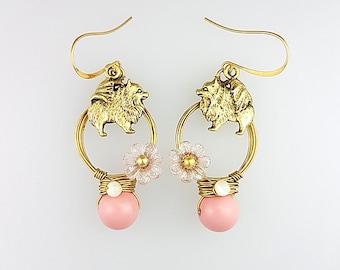 Pomeranian Earrings, Pomeranian Jewelry, Pink Dog Earrings, Animal Hoop Earrings, Pink Animal Earrings, Animal Lover Earrings, Dog Jewelry