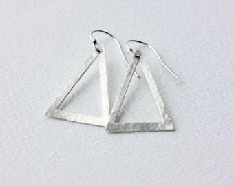 Sterling Silver Triangle Earrings, Dangle Earrings, Hammered Geometric Statement Earrings, Modern Earrings, Geometric Jewelry