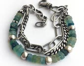 Ancient Roman Glass Bead Bracelet Sterling Silver Curb Oblong Cable Chain MultiChain Adjustable Length Boho Aqua Green Teal
