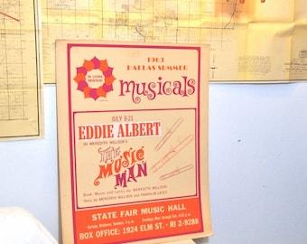 Free Shipping Vintage Dallas Summer Musical Poster Eddie Albert the Music Man  1963 Heavy cardboard Orange Retro