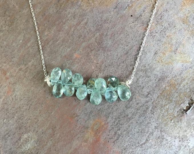 Faceted Aquamarine Bar Necklace