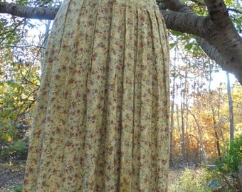 Floral midi dress cotton  frock yellow brown button back  roses 40s style small medium from vintage opulence on Etsy