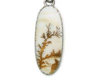 dendritic agate pendant #3 - unique agate sterling silver necklace - one of a kind statement piece - natural stone pendant