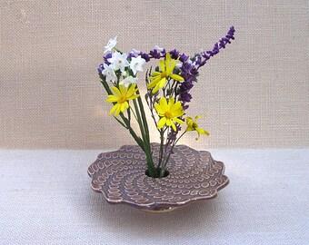 Doily Lace Ikebana Vase, Spiral Vase, Ceramic Vase, Handmade Pottery
