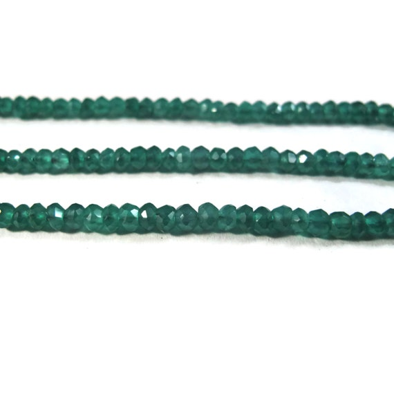 Green Onyx Rondelles, Faceted 3mm - 3.5mm Gemstone Beads, 6.5 Inch Strand Necklace Rondelles (R-On1)