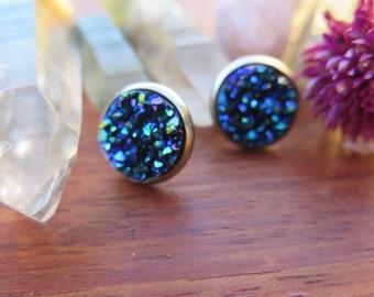 Faux Druzy Studs - Stainless Steel - Funky Boho Holiday Sparkle - Blue Mermaid - Pretty Bohemian Jazzy Jewelry - Good Vibes - Gypsy Soul