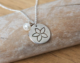 Silver Plumeria Necklace Sterling Chain White Pearl Flower Blossom Petite Small Charm Handmade Recycled Silver Tropical Flower #16479