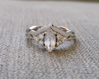 """Matching Wedding Band Victorian Polished Geometric Bohemian Antique Filigree Delicate 14K White Gold """"The Delphine"""""""