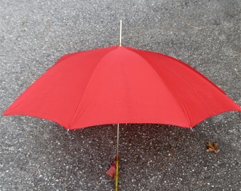 Cherry Red Umbrella with Classic Brass Handle 100% Nylon  With Storage Case Vintage 1960s Elegant In The Rain